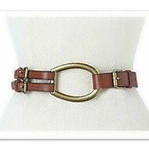 Ralph Lauren Vachetta Tri-Strap 100% Leather Belt